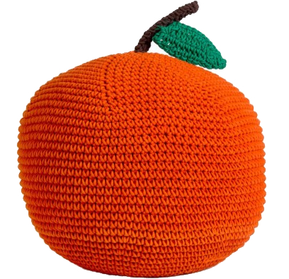 knitted pouf apple