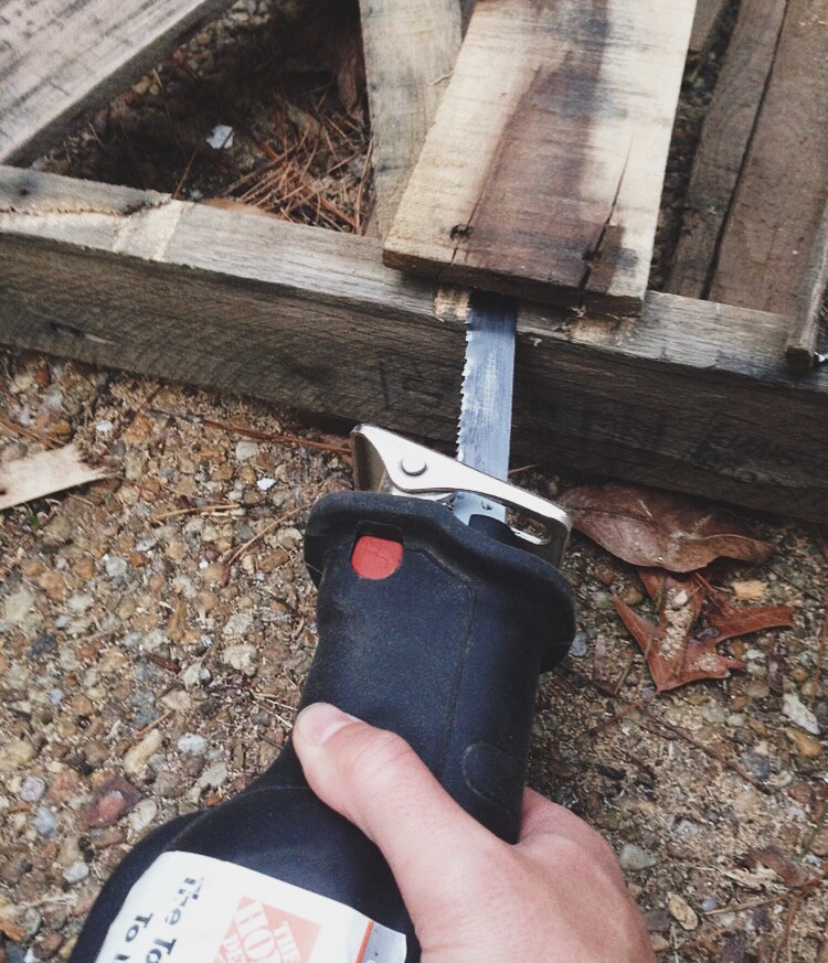 Sawzall Cutting Pallet Wood